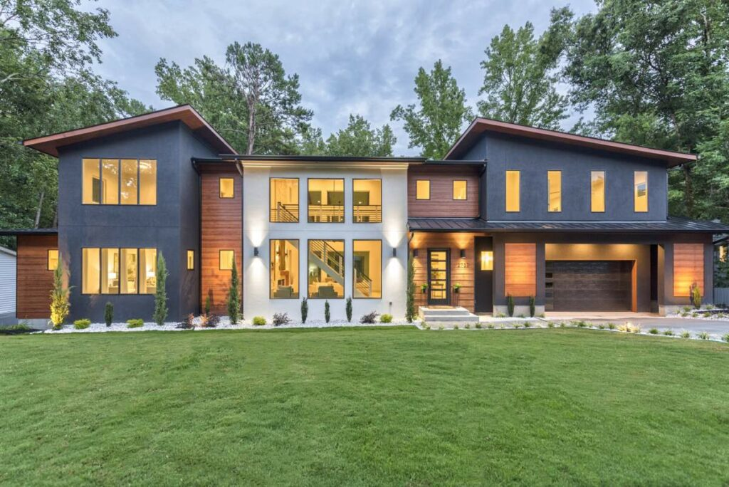 Front view of a modern home built by Artistic Contractors
