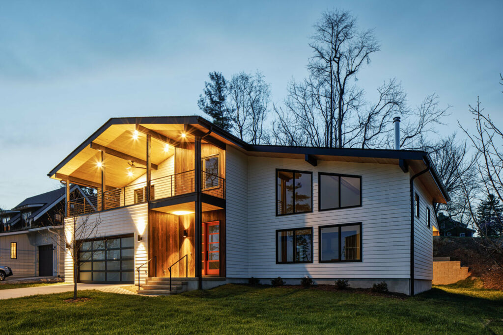Front view of a home design by Steel root builder