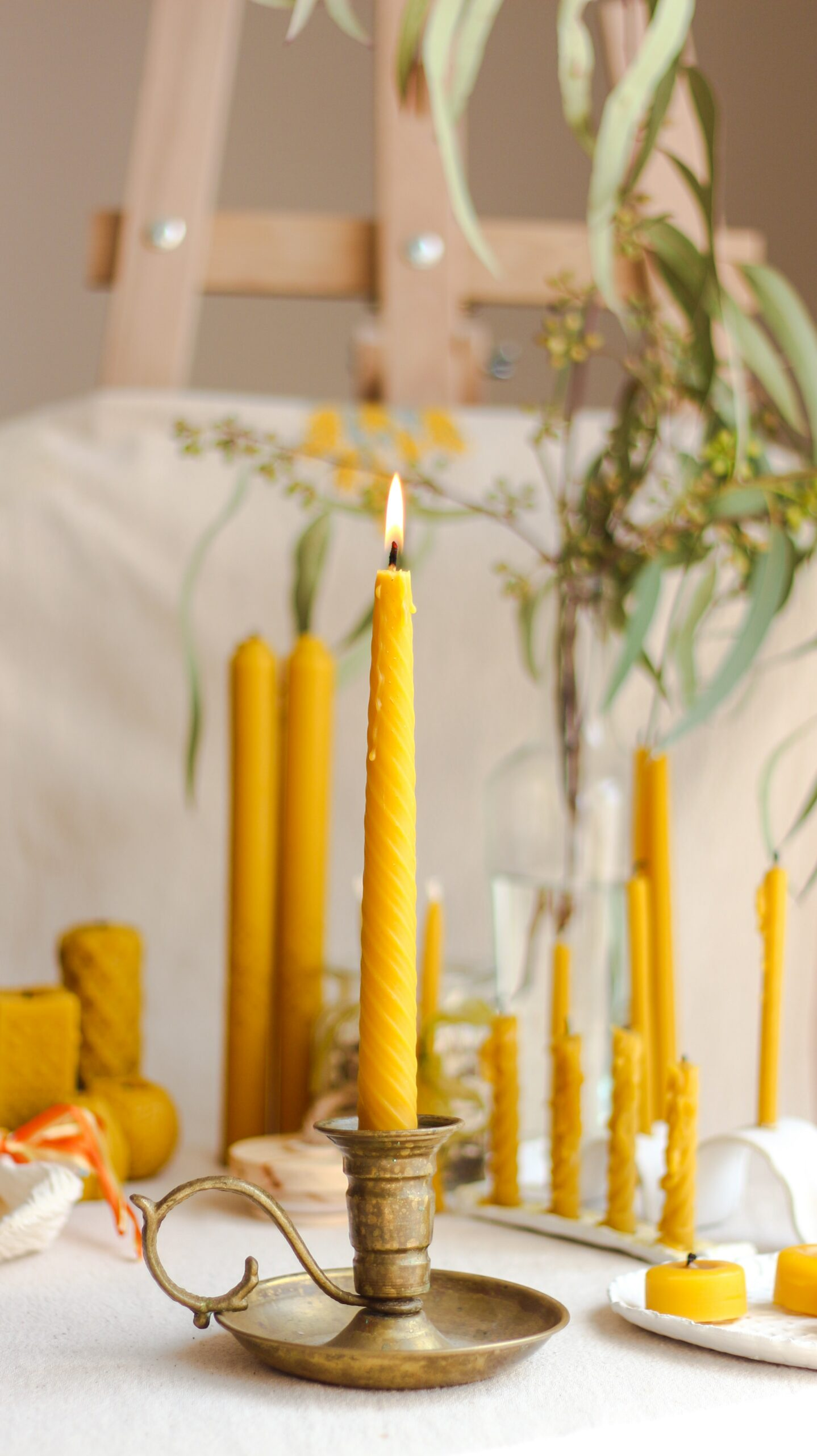 Candle Holders with yellow canldes